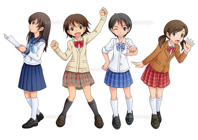デフォルメ女子学生 4種10456000136の写真素材イラスト素材アマナ