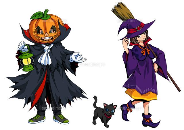 ハロウィン仮装ジャック魔女と黒猫10456000155の写真素材