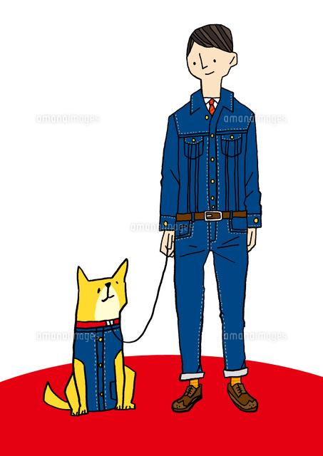 デニムを着た男性と犬10460000074の写真素材イラスト素材アマナ