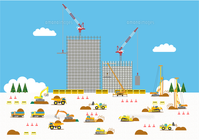 高層マンション建設の工事現場で働く車10467000143の写真素材