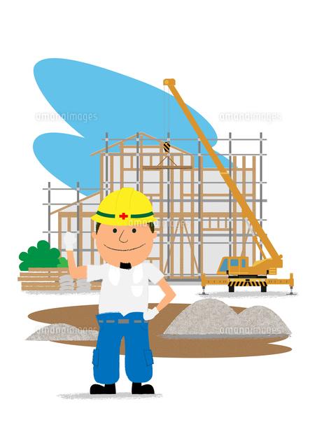 住宅建設の工事現場と働く人10467000153の写真素材イラスト素材