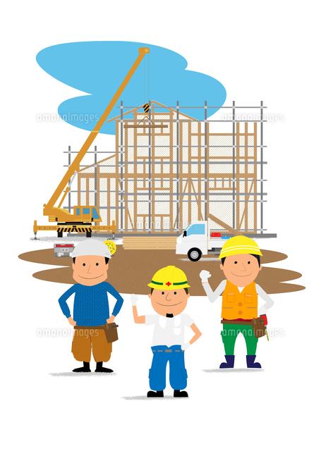 住宅建設の工事現場と働く人たち10467000157の写真素材イラスト素材