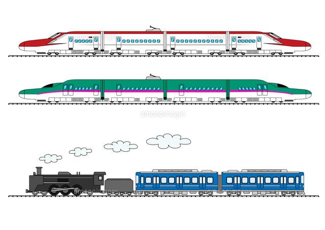 新幹線こまちはやぶさと蒸気機関車10467000671の写真素材