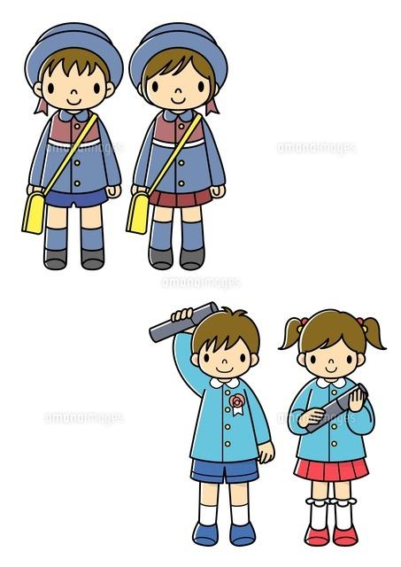 幼稚園に入園する子供と卒園する子供10468000030の写真素材イラスト