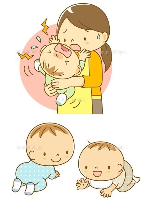 泣いている赤ちゃんをあやすママとはいはいする子10468000056の写真