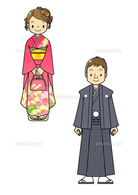 成人式の着物と袴の男女10468000102の写真素材イラスト素材アマナ