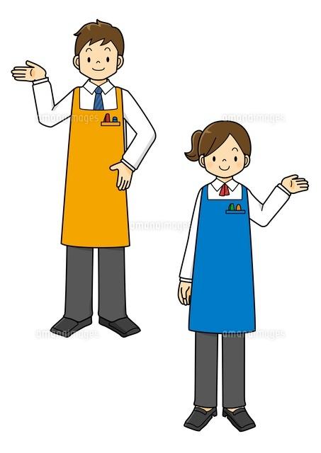 エプロンをした男性と女性の店員さん10468000144の写真素材イラスト