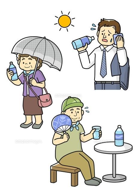 熱中症予防をする老人と水分補給するサラリーマン10468000258の写真