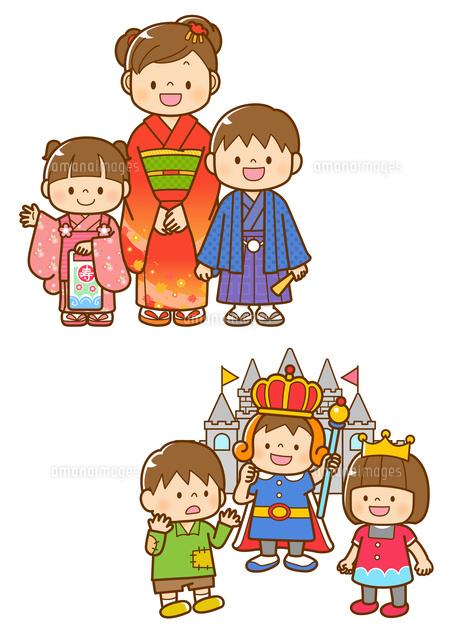 七五三の着物を着た子ども学芸会の劇をする子ども10468000279の写真