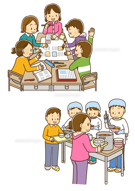 班でグループ学習をする小学生給食当番でおかずを盛り付ける男の子