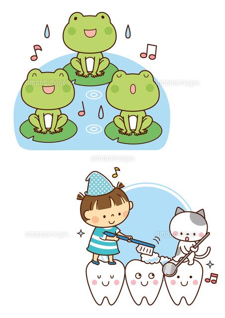 カエルの合唱歯のキャラクターと歯みがきする子供と猫10468000370の