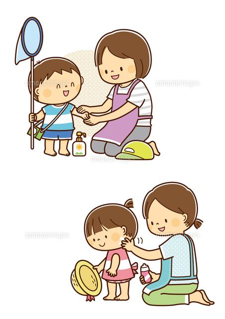 子供に日焼け止めを塗るお母さん10468000373の写真素材イラスト素材