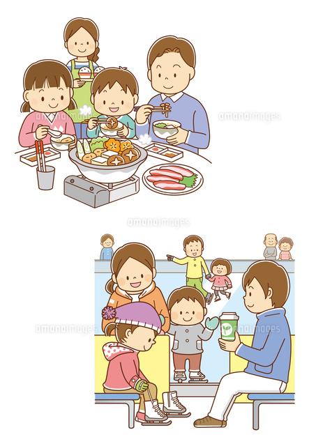 お鍋を囲む家族スケートに行く家族10468000376の写真素材イラスト