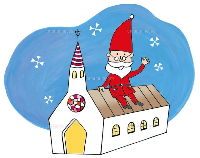教会の屋根に座っているサンタクロース10471000015の写真素材