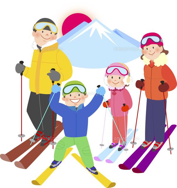 雪山でスキーを楽しむ家族10471000165の写真素材イラスト素材