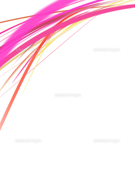 白背景の空間に浮かぶカラフルなピンク系のライン10471000305の写真