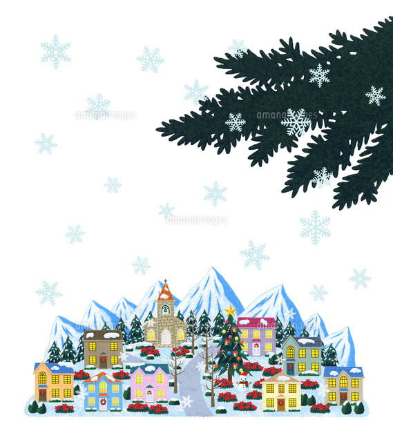 雪景色のクリスマスの街並10514000019の写真素材イラスト素材