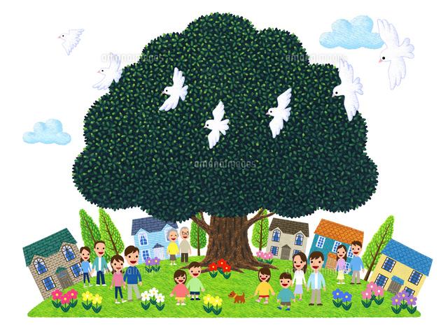 街イラスト大きな木に人々が集う街10514000030の写真素材イラスト