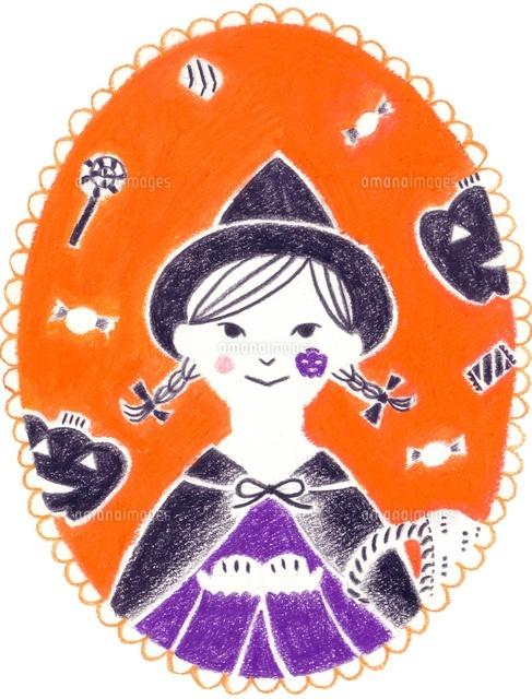 カレンダー 10月 ハロウィンの女の子10516000001の写真素材イラスト