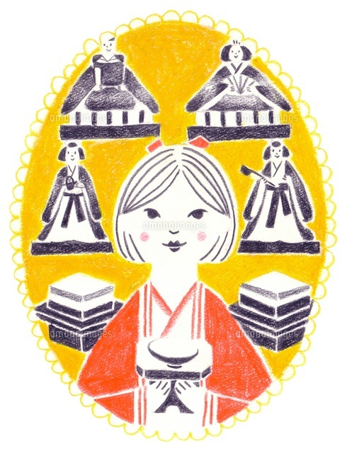 カレンダー 3月 ひな祭りの女の子 の写真素材 イラスト素材 アマナイメージズ