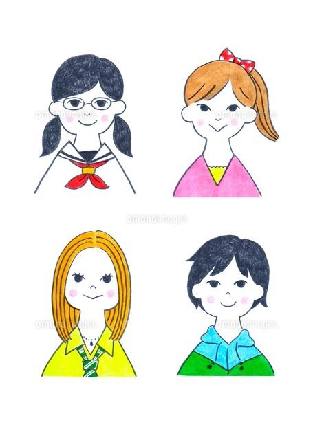 様々なタイプの10代の女の子4人10516000020の写真素材イラスト素材