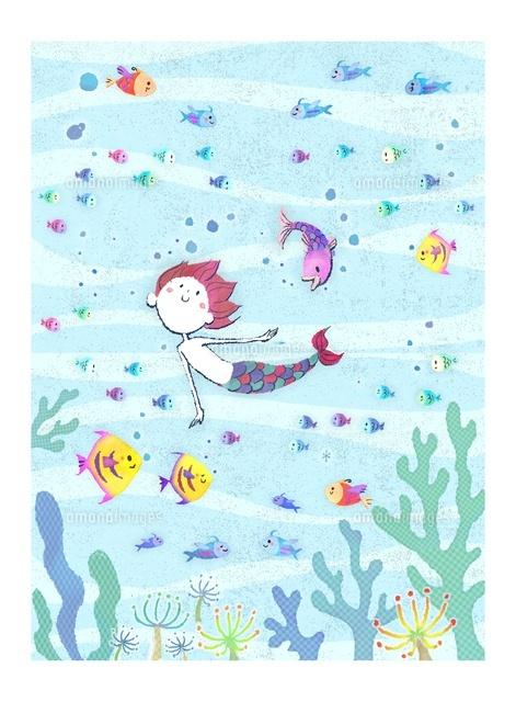 魚と泳ぐ人魚の女の子10536000014の写真素材イラスト素材アマナ