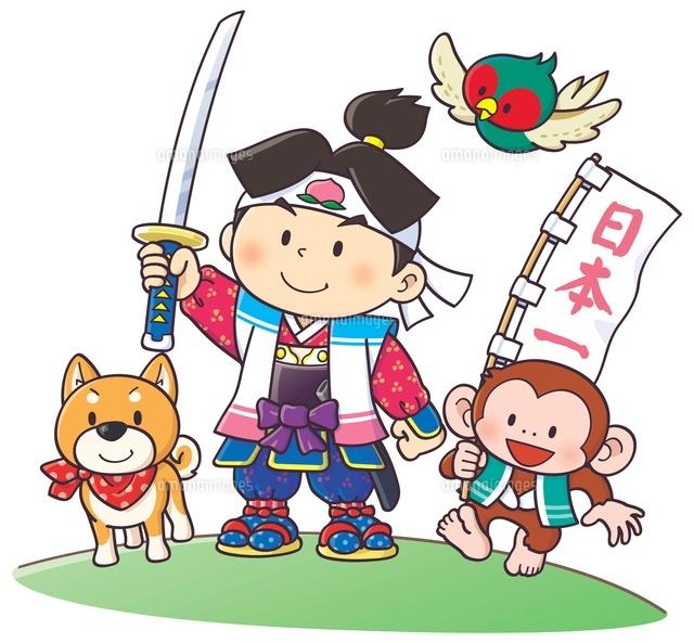 日本の童話 桃太郎と仲間たち10561000004の写真素材イラスト素材