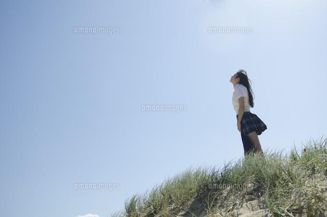 草むらに立って空を見上げている制服姿の女の子10568001454の写真素材