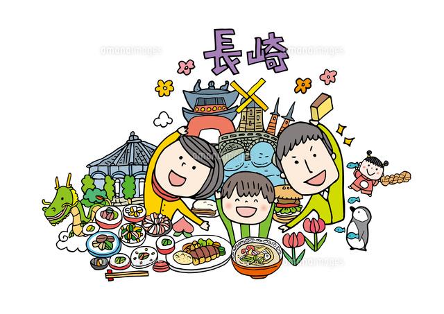 長崎観光をする3人家族10663000022の写真素材イラスト素材アマナ