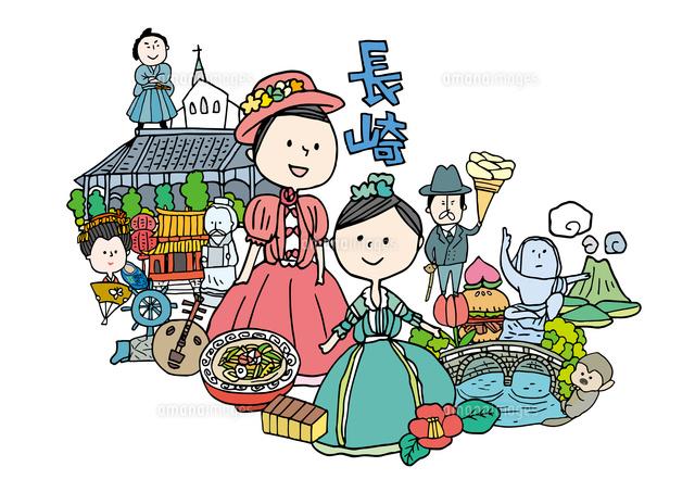 長崎観光をする女性2人10663000024の写真素材イラスト素材アマナ