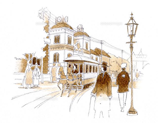 ガス灯の脇を馬車鉄道が走る明治時代の街中[10881000002]の写真