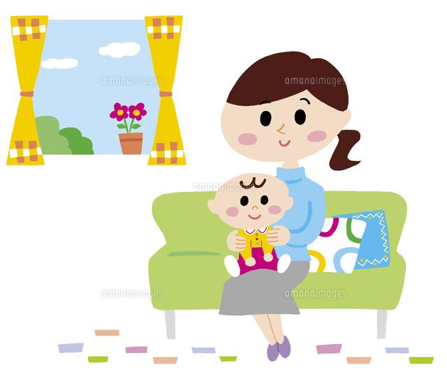ソファーに腰掛けるママと赤ちゃん10928000009の写真素材イラスト