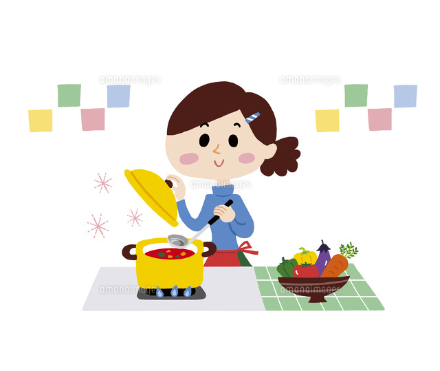 料理を作る女性10928000010の写真素材イラスト素材アマナイメージズ