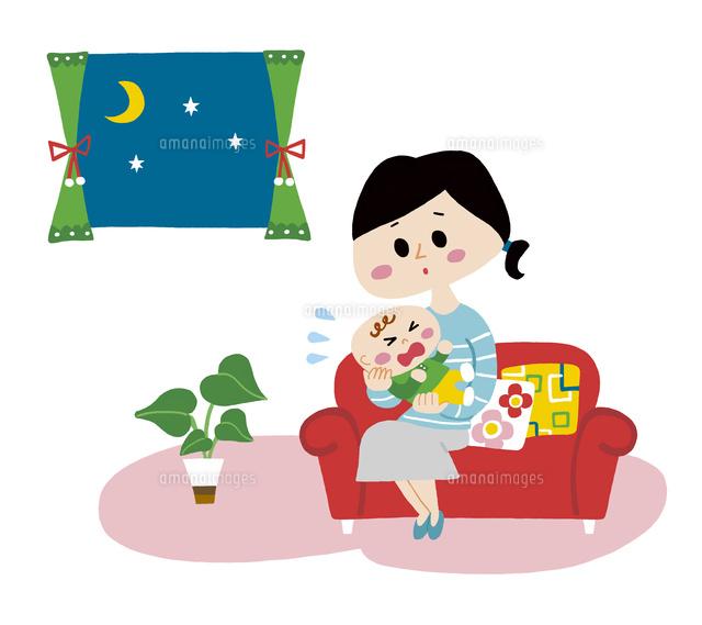 泣き止まない赤ちゃんと困ったママ10928000022の写真素材イラスト