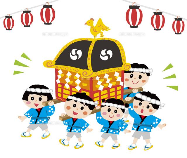 お祭りで御輿を担ぐ子供達10928000236の写真素材イラスト素材