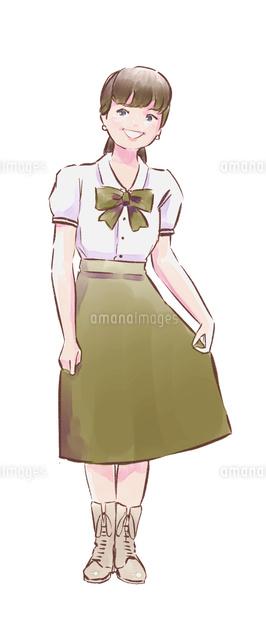 緑のスカートのカフェ店員女性10956000011の写真素材イラスト素材