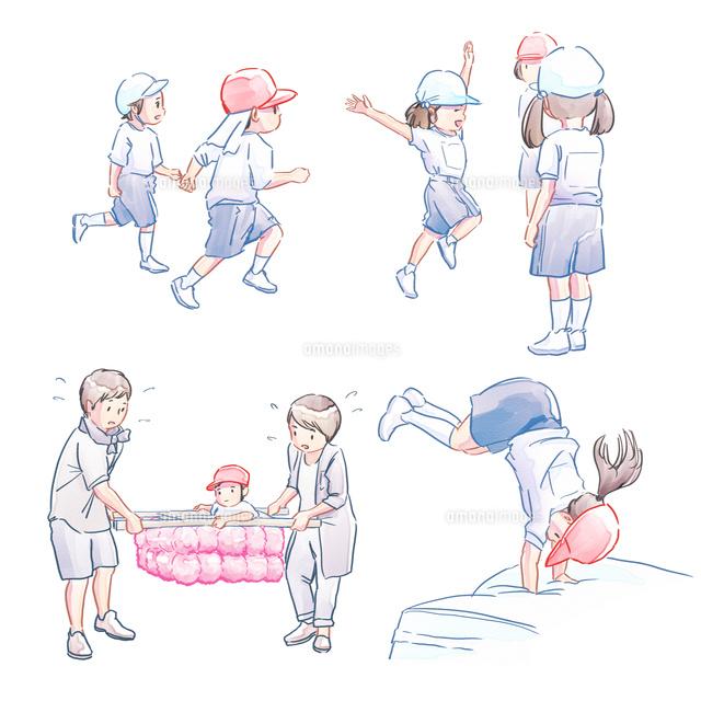 運動会の子どもたち かけっこ でんぐり返し かご運び の写真素材 イラスト素材 アマナイメージズ