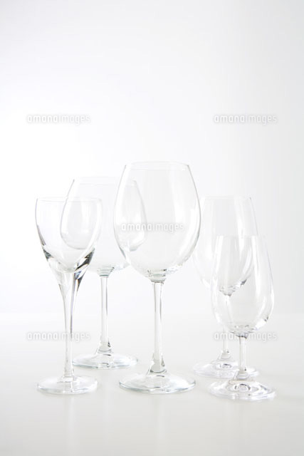 Assortment of empty wine glasses