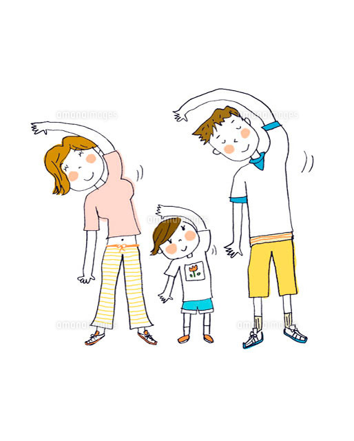 体操する親子 イラスト11002020567の写真素材イラスト素材アマナ