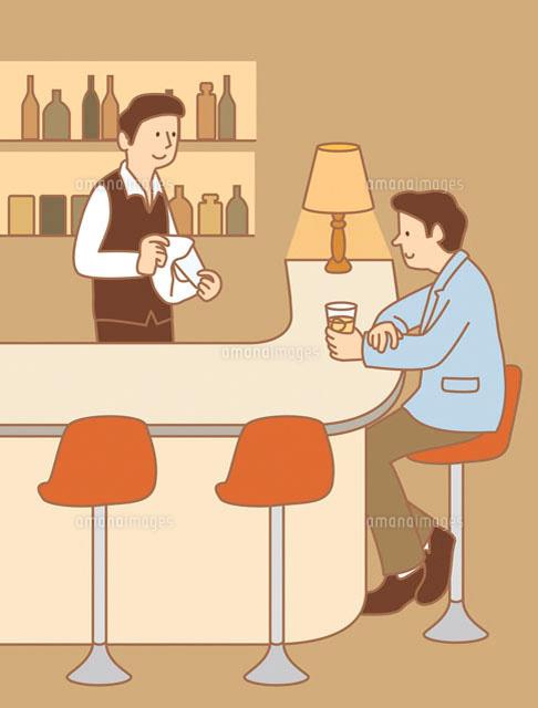 バーカウンターでお酒を飲む男性とバーテンダー イラスト11002026638の