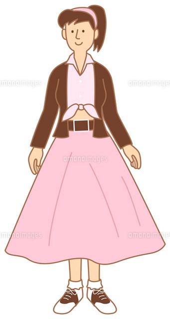 aラインのスカートを穿いた女性 イラスト11002026646の写真素材
