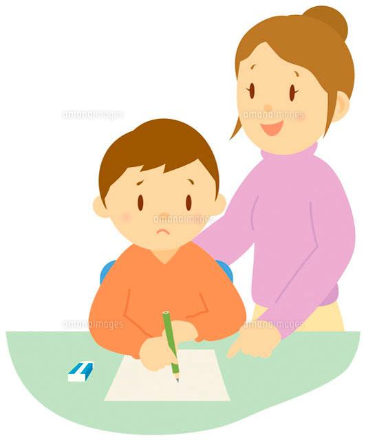 宿題をする親子 イラスト11002026714の写真素材イラスト素材アマナ