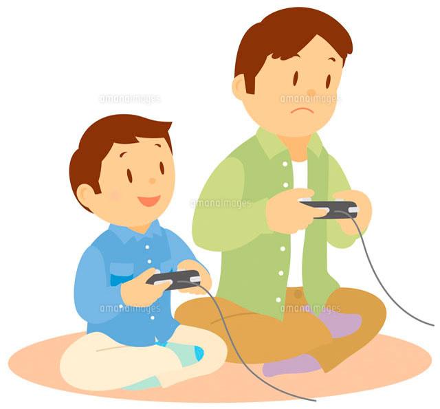 テレビゲームをする親子 イラスト11002026721の写真素材イラスト素材
