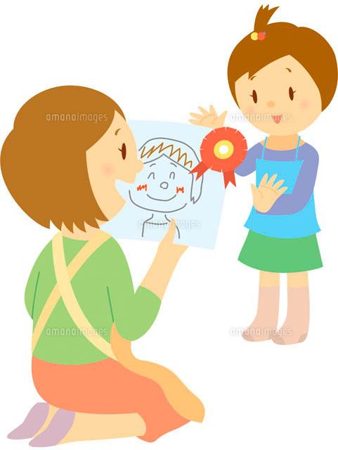 母の日にプレゼントを渡す女の子 5月11002052088の写真素材イラスト