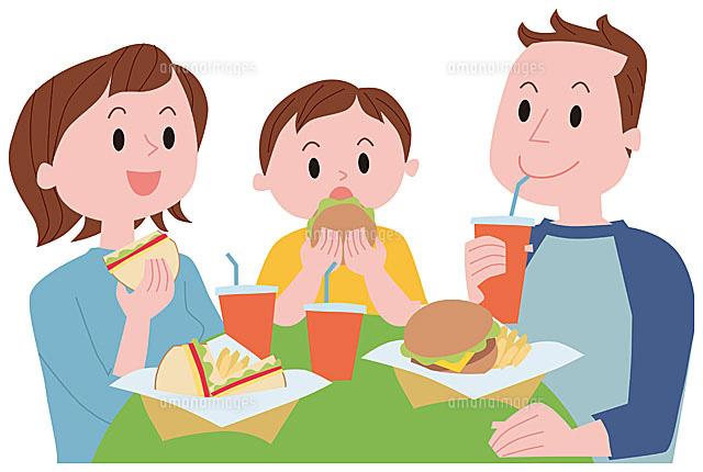 ハンバーガーを食べる家族11002054764の写真素材イラスト素材