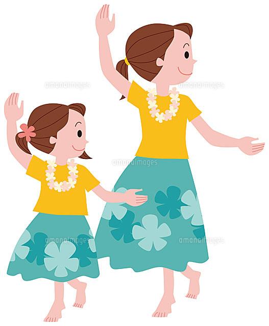 フラダンスを踊る親子11002054766の写真素材イラスト素材アマナ