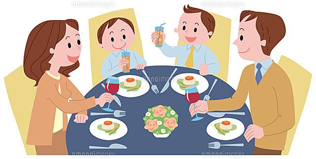 レストランで食事をする家族11002054781の写真素材イラスト素材