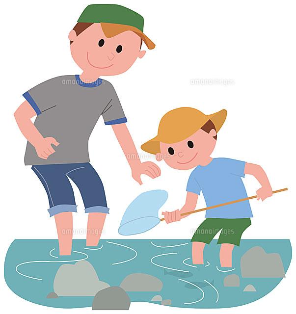 川遊びをする親子11002054792の写真素材イラスト素材アマナイメージズ