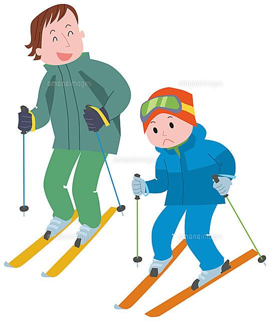 スキーをする親子11002054832の写真素材イラスト素材アマナイメージズ