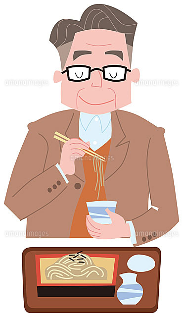 蕎麦を食べるシニア男性11002054928の写真素材イラスト素材アマナ